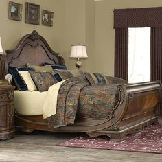 Shop the Bella Veneto Sleigh Bed at Perigold, home to the design world's best furnishings for every style and space. Plus, enjoy white-glove delivery. Sleigh Bedroom Set, Sleigh Beds, Bedroom Sets, Bedroom Decor, Bedroom Furniture, Tuscan Furniture, Hooker Furniture, Furniture Vintage, Master Bedrooms