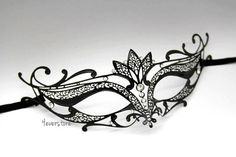 Majestic Black Laser Cut Venetian Mask Masquerade by 4everstore, $32.95