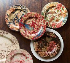 Sabyasachi Salad Plate, Mixed Set of 4 - Floral Bird | Pottery Barn
