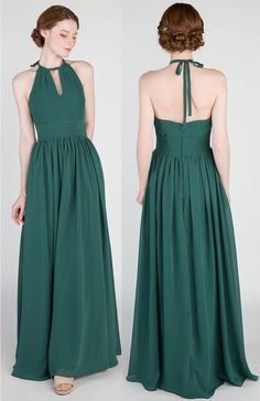 Emerald Green Halter Long A-line Chiffon Bridesmaid Dress #bridalparty #bridesmaiddress #weddingideas