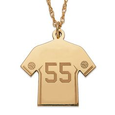 Gold over Sterling Personalized Soccer Sweater Necklace (74), Yellow, Size 20 Inch