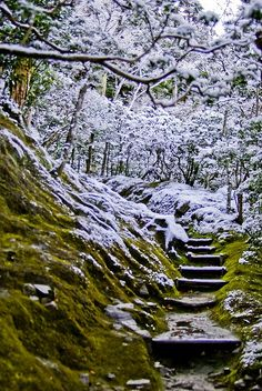 Garden at Ginkaku-ji temple in snow, Kyoto, Japan