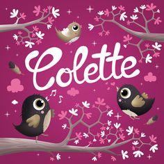 """""""Piou Colette"""" Faire-part de naissance original. Illustration sur mesure réalisée pour la naissance de Colette. Format 15 x 15 cm plié"""