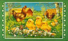 Påskbonad stor - Kycklingar upptäcker världen,  Lasse Carlsson, nytryck