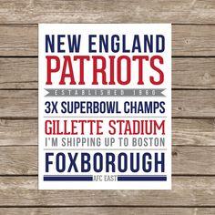 New England Patriots  Printable 8x10 by eandhcreates on Etsy, $10.00