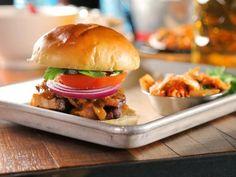 Triple D's Crispy Pork Belly Sandwich Recipe from Food Network Chef Recipes, Sausage Recipes, Food Network Recipes, Yummy Recipes, Fried Pork Belly, Steak And Shrimp, Crispy Pork, Braised Pork, Hoisin Sauce