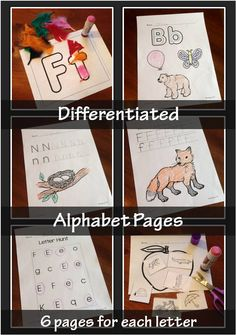 Alphabet practice pages (uppercase and lowercase) for letter recognition, letter writing/tracing, and beginning phonics (letter sounds). 6 printable, differentiated alphabet pages for each letter of the alphabet (uppercase and lowercase). https://www.teacherspayteachers.com/Product/Alphabet-Worksheets-6-Differentiated-Worksheets-for-Each-Letter-156-total-368654