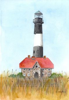 Fire Island Lighthouse Painting watercolor fine by MermaidsPalette