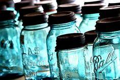 Antique Mason jars, blue with zinc lids found on flickr: forbiddenfruitsmoothie