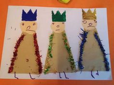 Christmas Mood, Christmas Bells, Christmas Ornaments, Bible Crafts, Paper Crafts, Art For Kids, Crafts For Kids, January Art, Three Wise Men