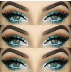 Teal and silver eye makeup