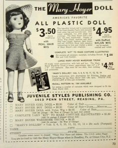 Lot of 2 Vintage 1950s Original Mary Hoyer & Toni Doll Print Advertisements | eBay