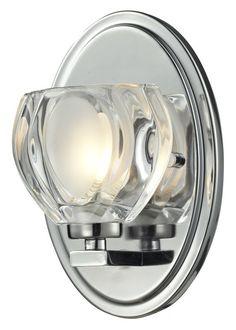 Z-Lite 3023-1V Hale 1 Light ADA Compliant Bathroom Sconce with Sand Blasted Glas Chrome Indoor Lighting Bathroom Fixtures Bathroom Sconce