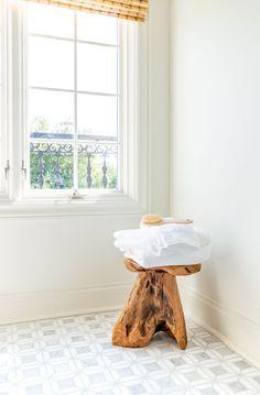 Guest bathroom renovation live edge bath stool Corporate Office Design, Modern Office Design, Office Interior Design, Office Interiors, Shower Niche, Shower Floor, Marble Mosaic, Mosaic Tiles, Commercial Office Design