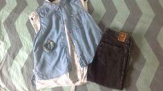 Blouse blauw wit/H&M Spijker legging zwart/tumble'n dry Armbandjes/Ibiza