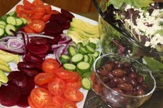 The many ingredients that go into making Greek Salads so yummy!