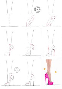 A step by step tutorial on how to draw high heels.