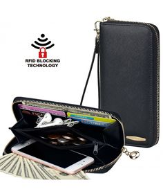 Clutch Wallet, COCASES RFID Protection Women Leather Card Holder Purse Handbag for 2 Cell Phones with Wrist Strap(Black): Made with premium quality synthetic leather and RFID blocking material. Minimalist Design: Keeps your essentials in one hand Black Leather Handbags, Pu Leather, Leather Wallet, Rfid Wallet, Clutch Wallet, Front Pocket Wallet, Best Wallet, Wallets For Women Leather, Minimalist Wallet