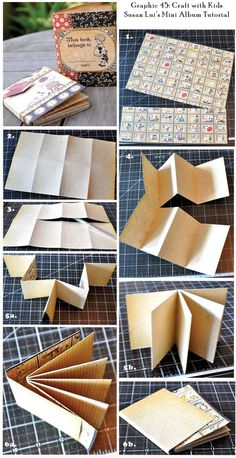 Check out this amazing Easy Peasy Mini Mini album tutorial to try with your kids by @Susan Lui! It only takes ONE SHEET of paper - so clever and fun! Click to get to printable tutorial #graphic45 #tutorials