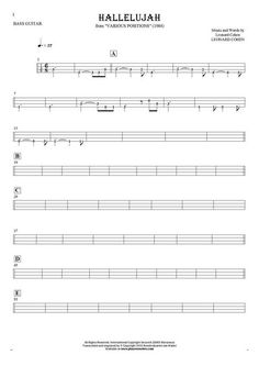 Hallelujah sheet music by Leonard Cohen. From album Various Positions (1984). Part: Tablature (rhythm values) for bass guitar.