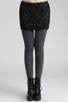 + Lace Skirt Grey Leggings