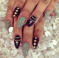 Love the matte finish, the jewelry, and the color combo!!! Stiletto Nails - Nail Art - 2014 Nails