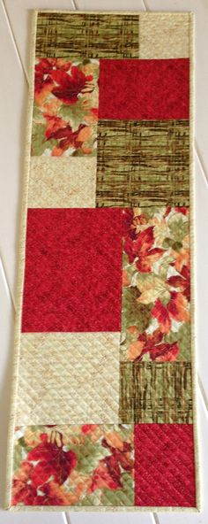 Quilted Fall or Autumn Table Runner in Red by LawsonCreations