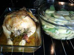 Chicken with rosemary,potatoes with onion,garlic,single cream