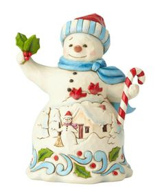 Jim Shore Christmas Snowman Hanging Ornament w//Staff /& Winter Scene ~ 4036336