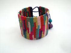 Macrame bracelet. Colorful bracelet. Macrame cuff. Jewelry macrame. Boho…