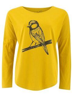 Bird Print Top in Yellow from People Tree