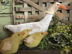 Momma goose and her chicks....pattern by Kentucky Primitives but lovingly hand made by Olde Pear Primitives.©2016.