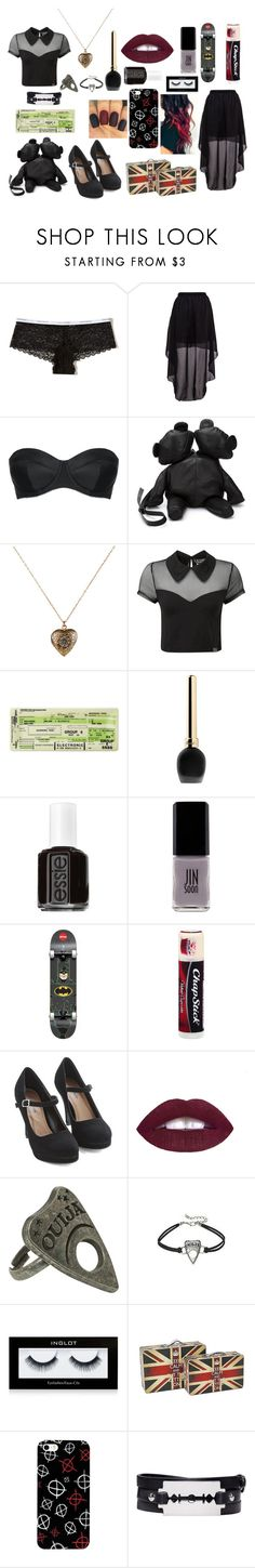 """""""Untitled #196"""" by alicebell1298 on Polyvore featuring Hollister Co., L'Agent By Agent Provocateur, Area Di Barbara Bologna, Accessorize, Killstar, Guerlain, Essie, JINsoon, Chapstick and Inglot"""