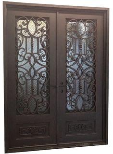 62x98 Victorian Iron Double Door Beautiful Wrought Iron
