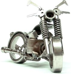 Mini Motorcycle by Emerson Bianchin made from scrap such as keys and bolts.