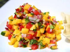 Mango Salsa Fresca (pico de gallo) l (Adjust heat as desired; pairs well w pork loin and mild whitefish.)