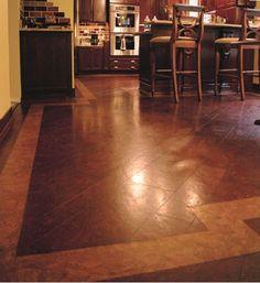 Cork Flooring Pictures and Image Gallery: Contrasting Cork Tile Kitchen Floor