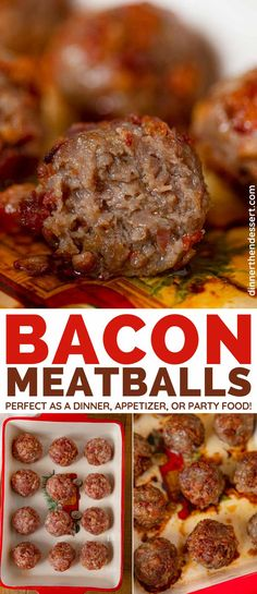 Bacon Meatballs are an easy dinner appetizer or party food that your family and friends will love! Bacon Meatballs are an easy dinner appetizer or party food that your family and friends will love! Bacon Meatball Recipe, Meatball Recipes, Beef Recipes, Cooking Recipes, Meatloaf Recipes, Top Recipes, Italian Recipes, Yummy Recipes, Recipies