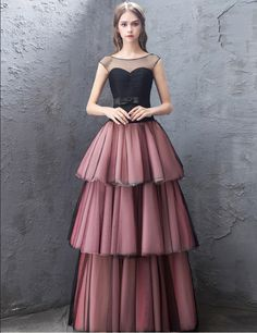 Black And Pink Tiered Evening Dresses Puffy Long Aibye Prom Dress For Weddings 2019 Dubai Arabic Formal Party Dress vestidos Tulle Dress, Strapless Dress Formal, Lace Dress, Wedding Dress Shopping, New Wedding Dresses, Dinner Gowns, Evening Dresses, Custom Dresses, Vintage Dresses