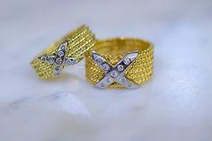 Gold Diamond Criss Cross Band In Two Widths- Has Matching Earrings Cross Earrings, Stud Earrings, Dainty Earrings, Gold Diamond Earrings, Right Hand Rings, Diamond Stone, Anniversary Rings, Modern Jewelry, Round Diamonds