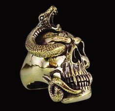 Bronze Snake Skull Biker Ring No Stones - Any Size - Free Shipping #Handmade #Statement