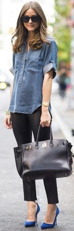 Chambray with black ankle pants.