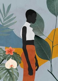 Tropical Girl 5 Mini Art Print by ThingDesign - Without Stand - 3 Art And Illustration, Illustrations, African American Art, African Art, Tropical Girl, Buch Design, Grafik Design, Lovers Art, Female Art