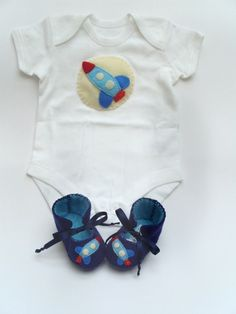 Rocket Baby GIft Set for Baby Boys. Baby Onesie by funkyshapes, $39.95