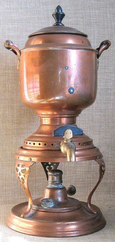 Magnificent Antique Manning Bowman & Co. Hand Worked Copper, Brass & Wood Samovar