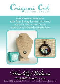 Bothell Chiropractic and Wellness' Wine and Wellness event! Thursday, May 7th 4-8pm.   Come visit me (Origami Owl) and many other vendors while learning more about your body and it's connection to the overall wellness (and happiness!) of you as a whole!   This over 21 event will include wine tasting, catered Paleo snacks and chair massages!