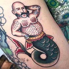 Merman by @justinwaynetattoo at @adornbodyart in Portland Oregon. #mermaid #merman #hunk #justinwaynetattoo #adornbodyart #portland #oregon #tattoo #tattoos #tattoosnob