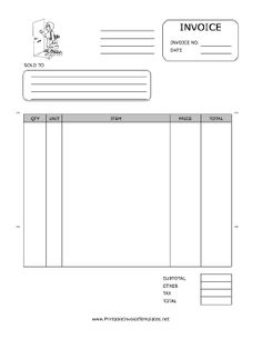 A printable invoice for use by a cleaning, housekeeping, or janitorial firm, featuring a black-and-white graphic of a maid arriving at a home or business. It has spaces to note quantity, unit, item, price, and more. It is available in PDF, DOC, or XLS (spreadsheet) format. Free to download and print