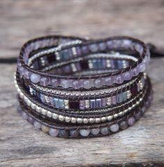 Amethyst mix Wrap bracelet, 5 times wrap, Boho bracelet, Bohemian bracelet, Beadwork bracelet