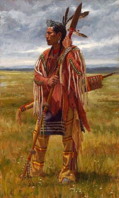 native american indians Protector of the Plains is a fine art giclee print depicting a Crow warrior standing on the Great Plains with his war spear and quiver and bow. Native American Warrior, Native American Girls, Native American Pictures, American Indian Art, Native American History, American Indians, American Spirit, Native American Paintings, Native American Artists